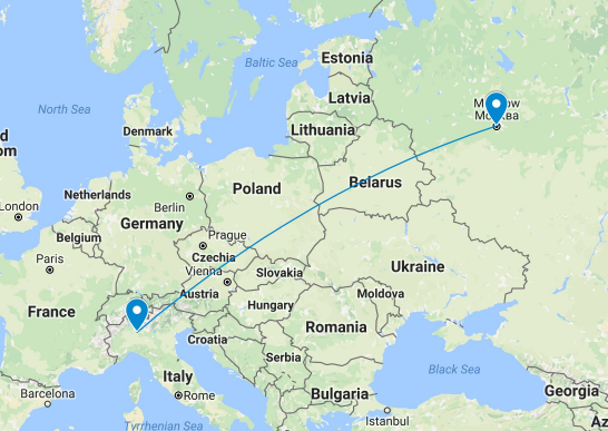 map moscow milan